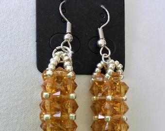 Beadwoven jewelry earrings  Handmade beaded Jewelry Handmade Czech crystal and metal towers