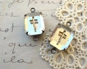 Clear Glass Cross Cabochons Gold Etched in Brass Ox 2-Loop Settings Mirrored Vintage Connectors(2)
