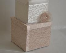 Lace card box_Ivory, champagne,pearls, vintage wedding box, card holder, wishing well, satin keepsake box