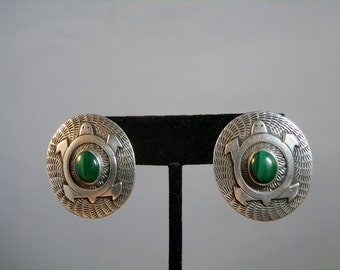 Vintage Navajo Earrings Sterling Silver and Malachite Post Stud Style Earrings Turtle Design Signed MJ Native American DanPickedMinerals
