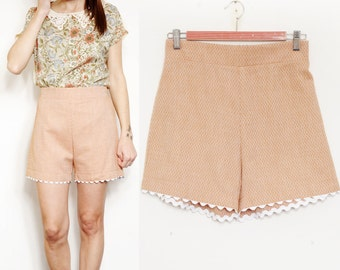 Handmade Cotton High Waist Shorts [Cate shorts/orange arabesque]