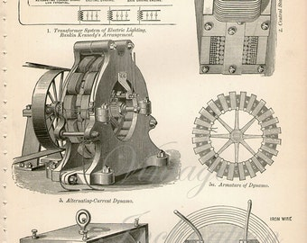 Antique print 1890. Engraving. Voltaic Electricity machines 3. 125 years old print. Antique print plate.9.5x6.25 inches, 24x16cm