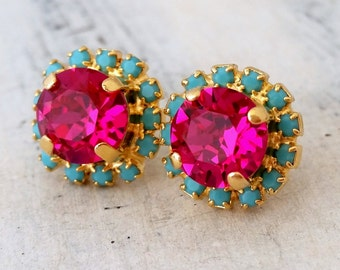 Pink and turquoise Swarovski crystal stud earrings, Bridesmaids jewelry,  Crystal hot pink stud earrings, Bridesmaid earrings