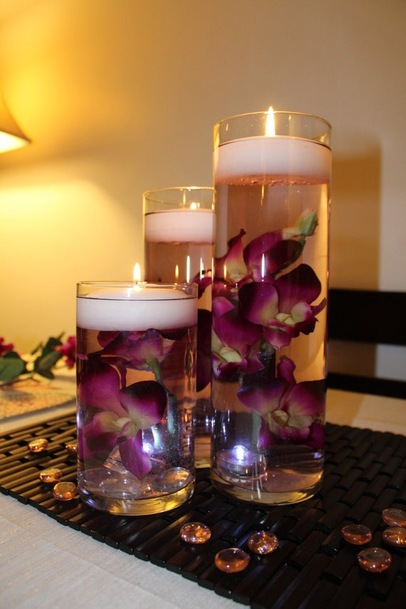 Purple With Yellow Center Dendrobium Orchid Floating Candle