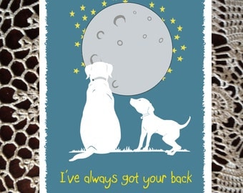 Friend Card thinking of you Greeting get well missing you best friend dog silhouette