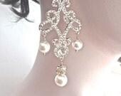 Gold chandelier pearl earrings - Long - Brides earrings ~ Swarovski ~ Crystal, rhinestone, earrings ~ Pageant, Prom earrings ~ LOLITA