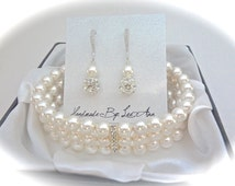 Pearl bracelet and earrings set ~ 3 rows ~ Cuff Bracelet  ~ Swarovski ~ Classy ~ Sterling silver ear wires ~ Brides jewelry set ~BEST SELLER