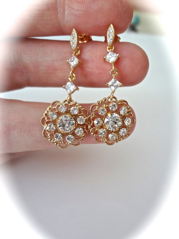 Gold Earrings - Beautiful Gold Filigrees - Swarovski clear crystals ~ Brides Earring - Crystal earrings - Formal - Jewelry - Bridal Jewelry