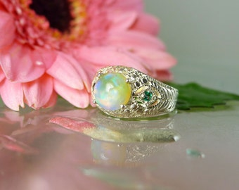 Opal Statement Ring, Opal Silver Ring, Natural Opal Ring, Unique Opal Ring, Handmade Opal Ring, Sterling Silver, Emerald Accents, Handmade