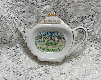 Vintage Hawaii Tea Bag Holder Gold Accents Hula Girls