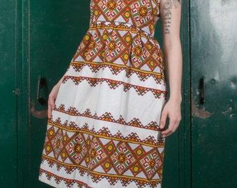 Vtg 70s Ethnic Linen Dress / Ukranian / Slavic / Folk