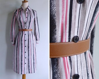 Vintage 80's Abstract Stripes Airbrush Black & Pink Shirt Dress XS or S