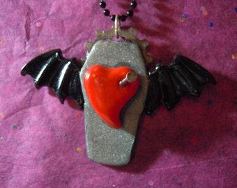 Goth Heart Necklace, Goth, Bat, Valentine Gift, Heart Coffin