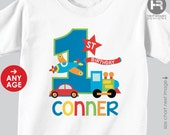 Transportation Birthday Shirt or Bodysuit - Planes, Trains and Automobile Birthday Shirt - made for ANY AGE