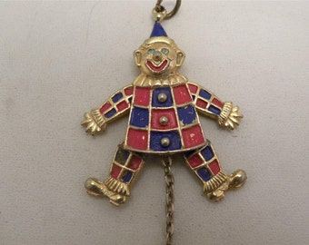 Vintage Articulated Clown  Pendant SIGNED JJ