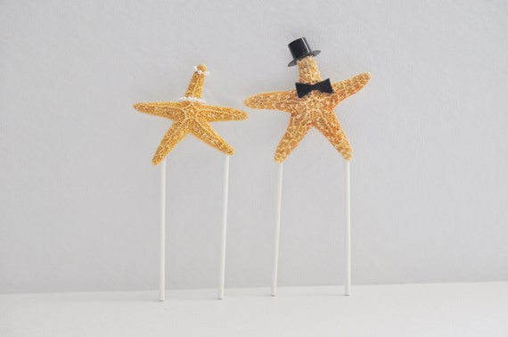 Starfish Bride And Groom Cake Topper