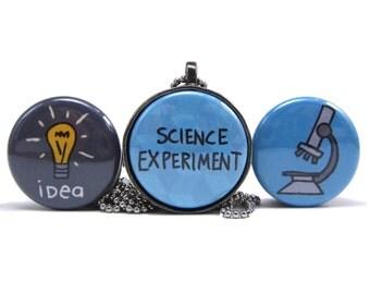 Science Experiment Magnetic Necklace Set - Science Pendants - Microscope - Light Bulb - Idea