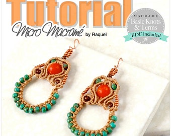 Micromacrame earrings, knotted earrings pendientes macrame Esquema PDF Tutorial DIY aretes