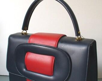 Vintage Navy Blue&  Red Vinyl   Mod  Hand Bag