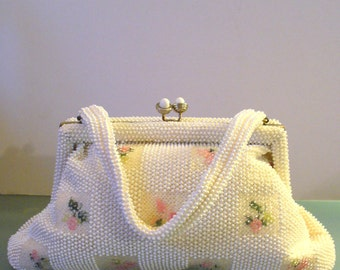 Vintage Petite Bead Handbag With Acessories