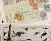 Vintage Collection of French Handwritten Postcards and Postage Stamps - Free Domestic Shipping