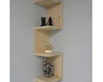 Wall mounted corner shelf Retro 4 tier zig zag shelf for bathroom shelf or any other room.