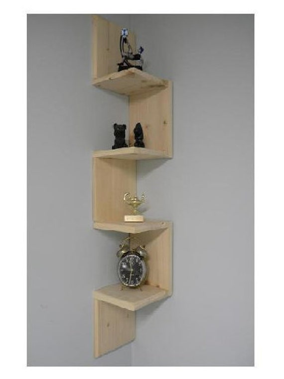 wall mounted corner shelf retro 4 tier zig zag shelf for. Black Bedroom Furniture Sets. Home Design Ideas