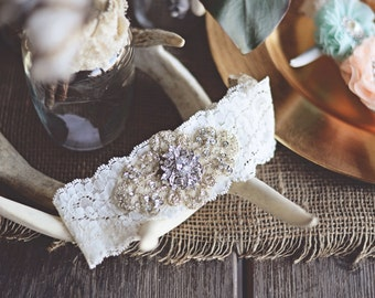 Vintage inspired Rhinestone Wedding garter / bridal garter/ lace garter / toss garter / Something Blue wedding garter / Shabby Chic