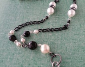 """I-D Lanyard, Name-tag Holder.  Faux Pearls.   34.5"""""""