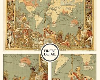 Retro world map print - World map print - Wall world map - Vintage wall map - LARGE Fine Art archival Print,017
