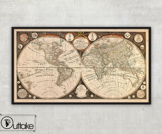 Ancient Map of the World by Thomas Kitchen (1799)  - Old map of the world - Map of the World - Mercator projection   , 005