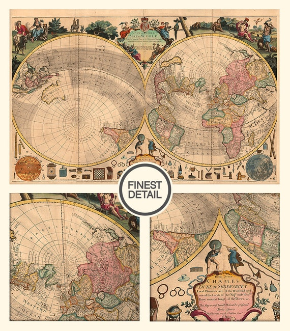 Ancient World map (1714) - Vintage World map - Old map of the World - LARGE map of the world ,043