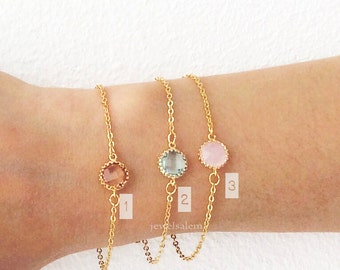 Gold Stacking Bracelet Pink Peach Mint Green Stone Modern Jewelry Chic Dainty Personalized Gift Friendship Sister Best Friend C1