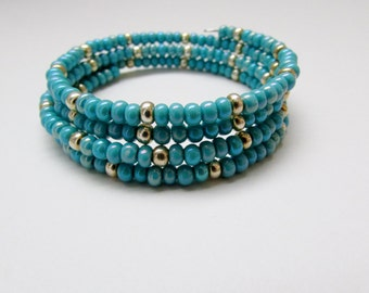 Turquoise and Silver Beaded Memory Wire Bracelet