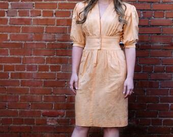 Helga Designer 1950's Silk Peach / Orange Helga Dress - Size 7 / 8 Mad Men Dress Coral Dress