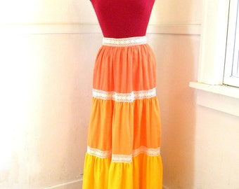 70s Maxi Skirt / Hippie Skirt / Ruffles Tiers Orange Yellow Lace / Boho Long Skirt / SIZE XS
