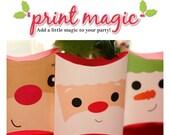Christmas Santa Rudolph Snowman Printable Pillowbox Gift Box - Printable PDF - Instant Download