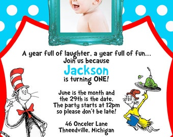 Dr. Seuss Birthday Party Invitation - First Birthday - Digital Invitation - You Print OR I Print