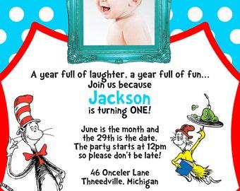Dr. Seuss Birthday Party Invitation - First Birthday - Digital Invitation - You Print OR I Print