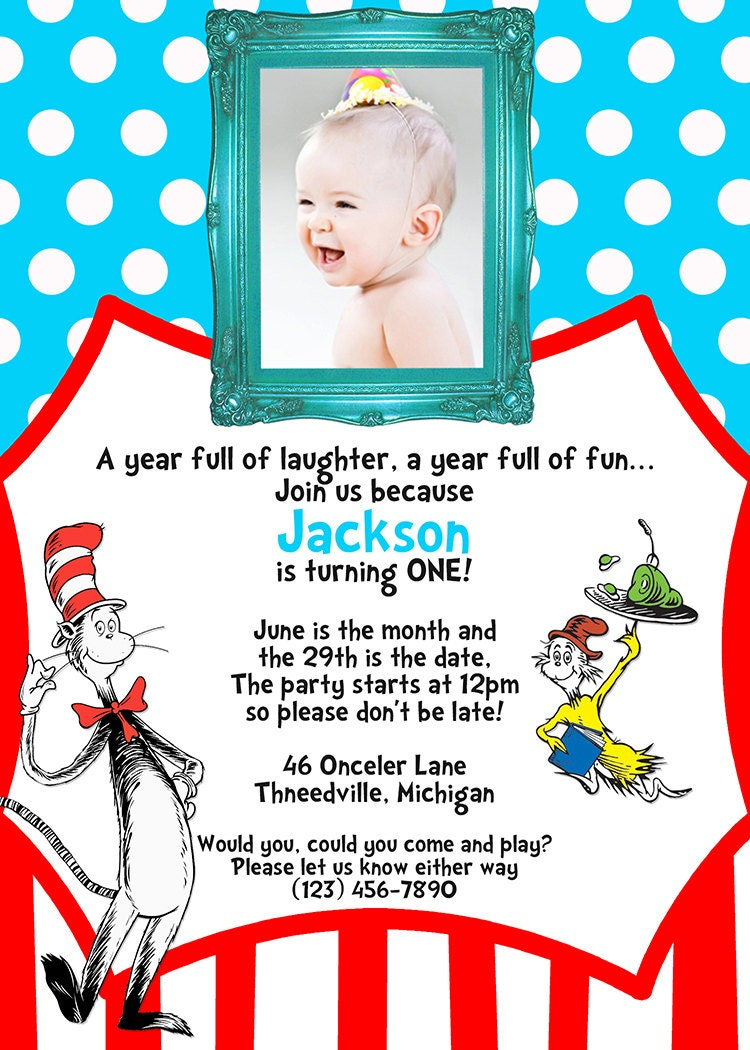 Dr. Seuss Birthday Party Invitation - First Birthday - Digital ...
