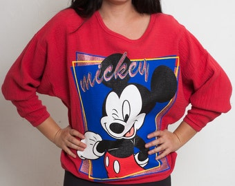 90s Disney MICKEY UNLIMITED Oversized Red Sweatshirt, Disneyland Retro Soft Shirt, size medium large, early 1990s oversize top