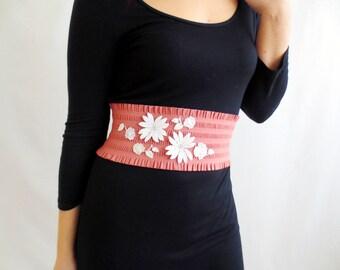 Pink Obi belt, Elastic belt, romantic belt, lace belt, wedding belt, womens accessories, elegant belt, vintage inspired