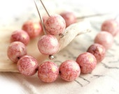 Pink beads, czech glass, shabby chic, Crackle luster, round beads, druk, pressed beads - 8mm - 20Pc - 0745