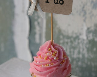 10 i do, me too or eat me Cupcake Toppers ~ Weddings ~ Engagements ~ Bridal Shower