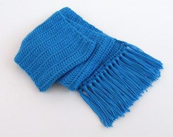 Crochet Cobalt Blue Scarf with Fringe for Men and Women