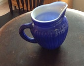 Creamer, syrup, sauce milk pitcher - cobalt blue glass over white