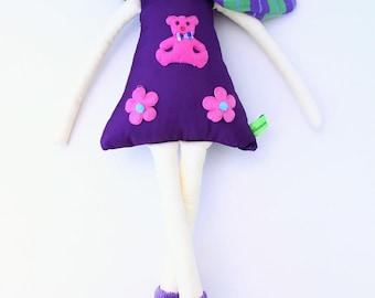 New '''' , Silvia , soft doll, handmade  rag doll, wearing  beret ,scarf and socks ,  ready to ship,stuffed doll