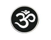 Black  White Om Iron On Patch Embroidery Sewing DIY Customise Denim Cotton