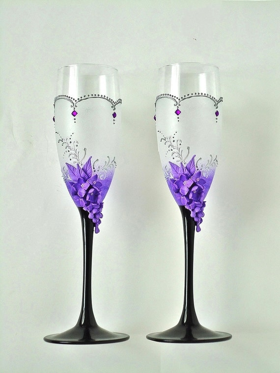 Lilac Wedding Champagne Glasses Purple Toasting Flutes