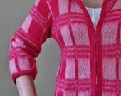 Vintage Plaid Sweater Cardigan - Pink and White - Zippered - Girlie - Fluffy - Jacket - Loubella